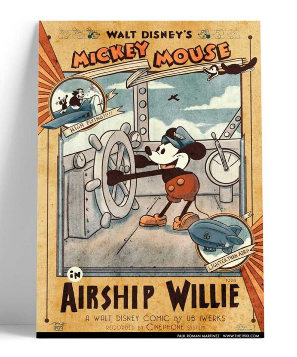 Cuadro Vintage Mickey Mouse Airship Willie