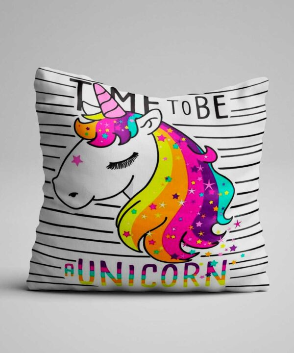 Cojín de unicornio time to be