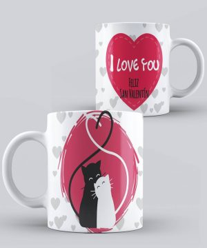 Mug de San Valentin I Love You Gatitos