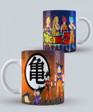 Mug de dragon ball goku evolucion fondo azul