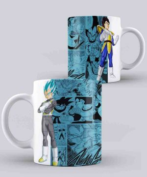 Mug de Dragon ball de vegeta normal y blue Fondo Blanco